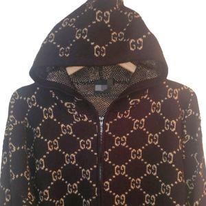 2X Mens Fashion GG Logo Wool Blend Zip Sweater